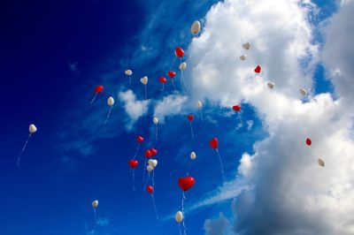heart balloons in the sky