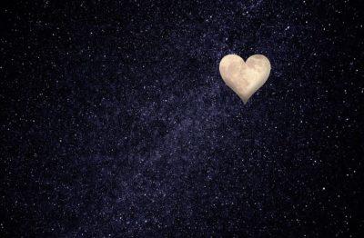 Heart moon in the starry sky