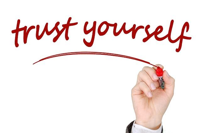 Trust yourself written in red